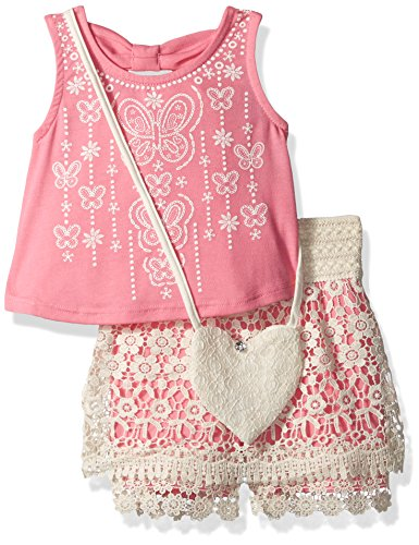 [Beautees Little Girls' 2 Piece Sleeveless Back Bow Top and Embroidered Shorts, Pink, 4] (Embroidered Sleeveless Top)