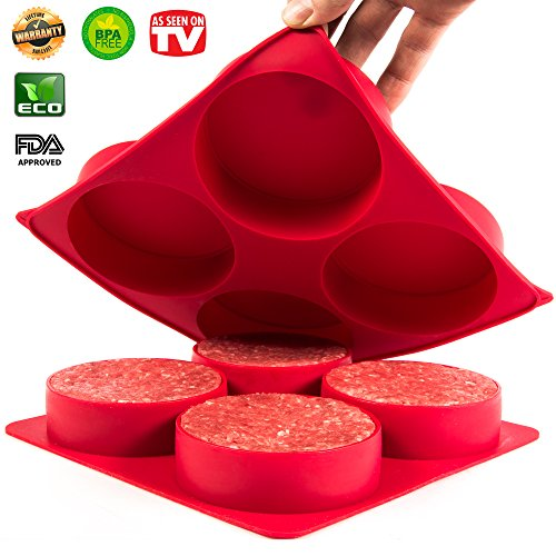 Burger Press - Stuffed Hamburger Patty Maker - Stuff big half pound Patties for your next BBQ Grill Party - Non stick Silicone Freezer Storage Container mold set - Oven bake Quiches, pies, Hash Browns (Bubbas Bbq Rub compare prices)