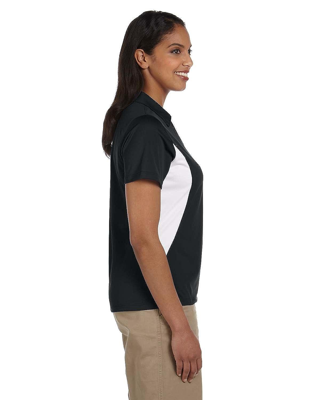 Harriton Ladies Side Blocked Micro-Pique Polo BLACK//WHITE XL