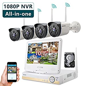 """ONWOTE All in One 1080P HD NVR Wireless Home Security Camera System Outdoor with 10.1"""" LCD Monitor, 1TB Hard Drive and 4 Night Vision IP Surveillance Camera (Built-in Router, Auto-Pair)"""