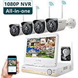 ONWOTE All-in-one 1080P HD NVR Wireless Home Security Camera System Outdoor with 10.1 LCD Monitor, 1TB Hard Drive and 4 Night Vision IP Surveillance Camera (Built-in Router, Auto-Pair)
