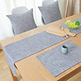 Place Mats for Kitchen Table, O'Family Cotton Linen Elegance Simple Placemat Washable Table Mats Set of 4 with A Compatible Table Runner