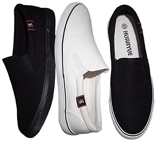 Toile Slip en Baskets WUIWUIYU f Noir Bateau Homme Basses Blanc on Chaussures xwpA4Zq04