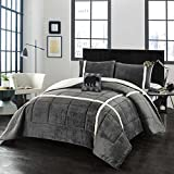 Bed Linens. 4pc. Comforter Set – Grey. Home Bedding For Bedroom Furniture Includes: Comforter, 2 Shams, And Decorative Pillow. Cozy Bedding for Your Home. (King)