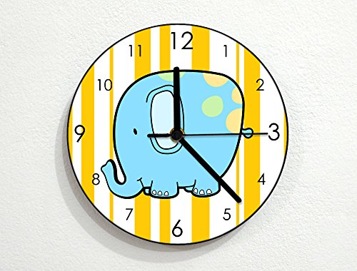 Circus Wall Clock (Cute Elephant - Baby Nursery Kids Room - Custom Name Wall Clock - Yellow)