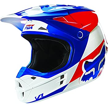 Fox Racing Mako Mens V1 Motocross Motorcycle Helmet - Blue/White / X-Small