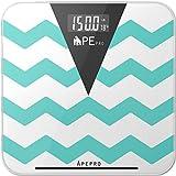 Bathroom Scale, ApePro Chevron Teal Precision Digital Tempered Glass body w ....