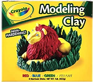 Binney & Smith Modeling Clay Four 1/4 lb Pieces, Red/Yellow/Blue/Green (CYO570300)
