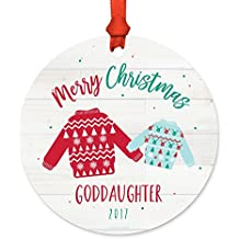 Andaz Press Family Metal Christmas Ornament, Merry Christmas Goddaughter 2018, Fair Isle Holiday Ugly Sweater, 1-Pack, Includes Ribbon and Gift Bag