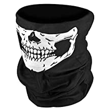 Baiyu Black Skull Face Mask Stretchable Windproof Half Facemask Headwear Motorcycle Biker Cycling Riding mask Face Neck Warmer Duty helmet