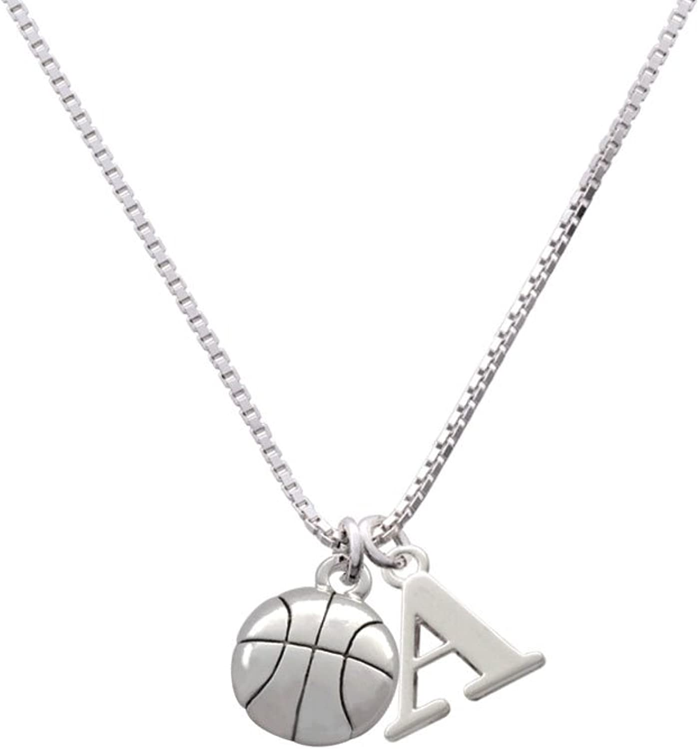 Enameled Basketball Ball Necklace on 18 inch chain