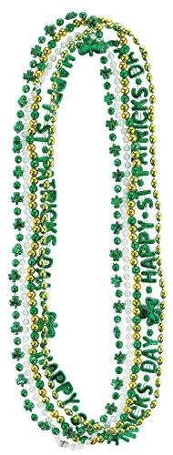 Wee willy St. Patrick's Day Party Bead Necklaces Multipack , Green,Silver,Gold, Plastic , 33