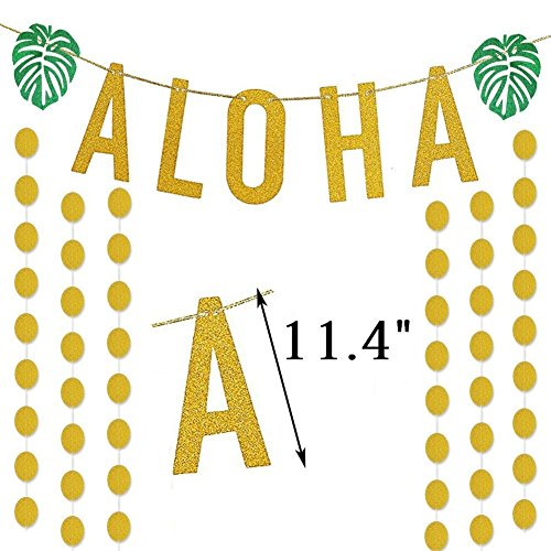 Bozoa Luau Party Supplies - Gold Glittery ALOHA Banner(11.4 Inch Green Palm leaf and Gold Glittery Circle Dots Garland for Hawaiian Tropical Beach Summer Party Decoration Supplies by Bozoa
