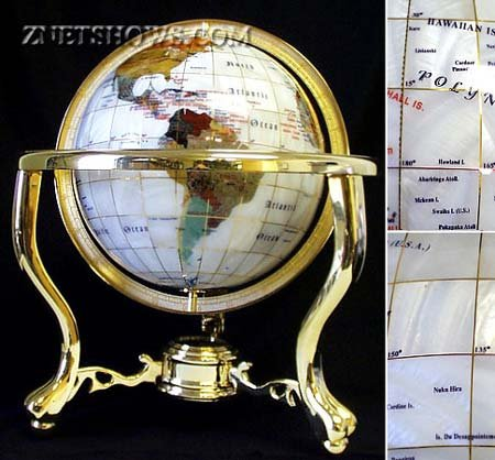 [Jewelry Quality Full Cut Glittering Mother of Pearl Gemstone Globe 13 Inch] (Mother Of Pearl Globe)