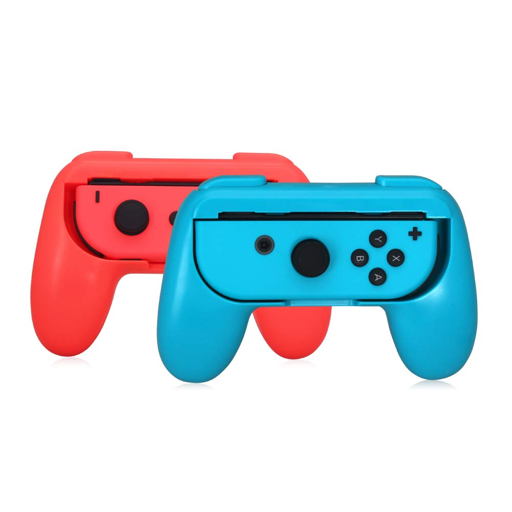 Jon Con Grip, Lammcou Joy-con Handle Grip for Nintnedo Switch Conslole Joy Con Controller in NS Nintendo Switch Multiplayer Games Mario Kart Super Mario Odyssey Street Fighter 2 - Blue&Red