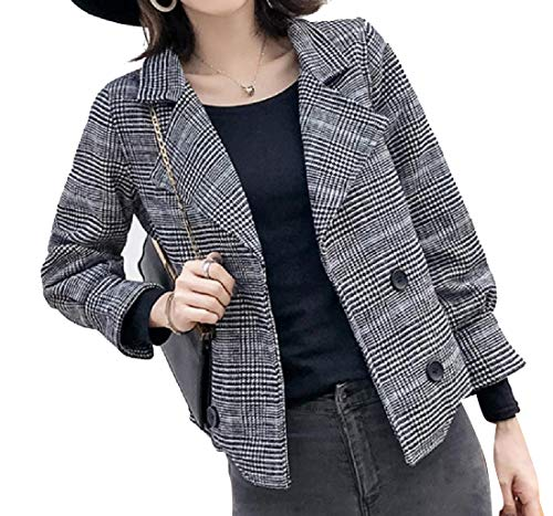 (Highisa Women's Fall Winter Houndstooth Wool and Warm Short Blazer Grey M)