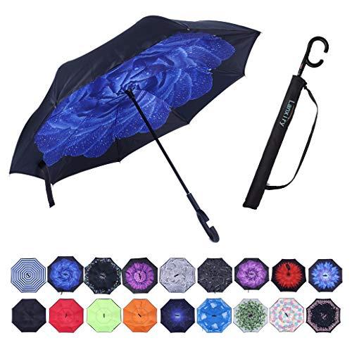 lanxiry Umbrella,Large Inverted Reverse Waterproof Umbrellas (Blue ()