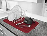 Cuisinart Ultra Absorbent Kitchen Dish Drying Mat, 100% Microfiber Polyester, 16 in x 18 in, Crimson Red Print- 2pk