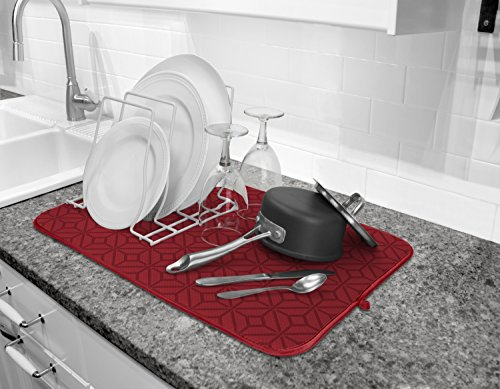 Cuisinart Clean Water Countertop - Cuisinart Ultra Absorbent Kitchen Dish Drying Mat, 100% Microfiber Polyester, 16 in x 18 in, Crimson Red Print- 2pk