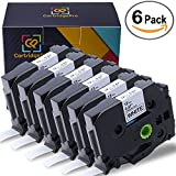 CartridgePro 6-Pack TZe231 Label Tape 12mm x 8m Black on White Standard Laminated Labels Replacement for Brother P-Touch Label Maker TZe-231, PT-H110, PT-D210, PT-D400AD, PT-D600 (1/2'' x 26.2ft)