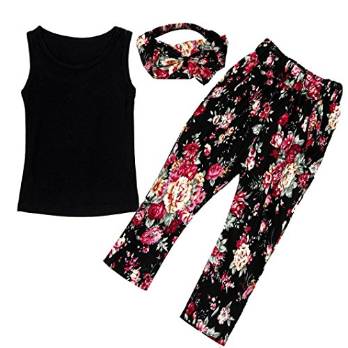 Girls' 3 Pieces Outfit Set Black Tank Top,Flowers Print Leggings,Headband (7T)
