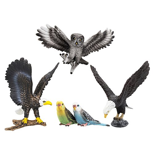 TOYMANY 5PCS Realistic Textures Bird Figurines, Tiny Birds Animal Figures Toy Set Includes Bald Eagles Owl, Easter Eggs Educational Christmas Birthday Gift Set for Boys Girls Kids Toddlers ()