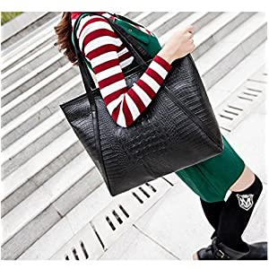 Casual Women Shoulder Bags PU Female Big Tote Bags for Ladies Handbag Large Capacity sac a main femme de marque (Black Color)