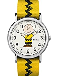 Timex Women's Casual x Peanuts – Charlie Brown TW2R41100JT White Dial and Yellow Nylon Band Watch