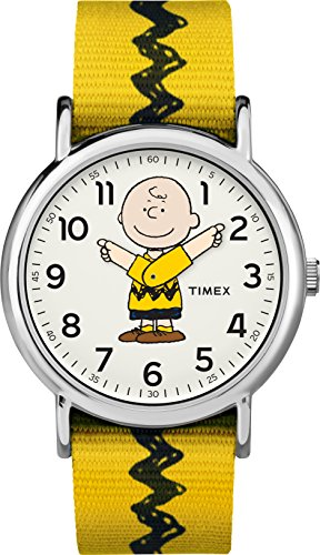 Timex Unisex TW2R41100 Weekender x Peanuts: Charlie Brown Nylon Slip-Thru Strap Watch]()