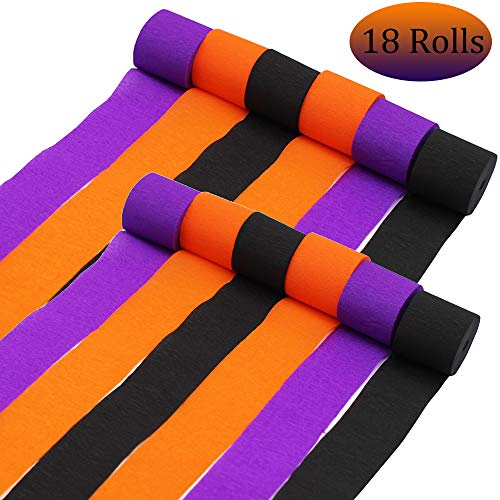 Halloween Orange Black Purple Crepe Streamers Paper for Halloween Party Room Wall Decor DIY Spooky Craft (18)]()