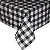 Eforcurtain Classic Checkered Tablecloth Polyester Blend Cotton Rectangle Table Cover, 60 By 84 Inch, Black and White