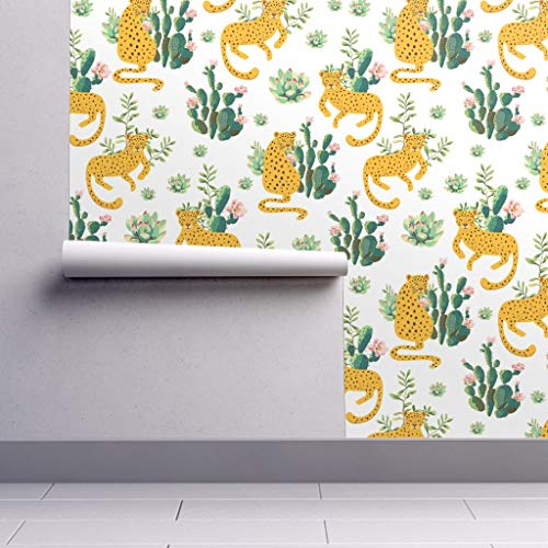 Peel-and-Stick Removable Wallpaper - Leopard and Cactus Watercolor Leopard Leopard Jungle Zoo Cactus by Shopcabin - 24in x 60in Woven Textured Peel-and-Stick Removable Wallpaper Roll -
