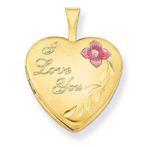 1/20 Gold Filled 16mm Enameled Flower I Love You Heart Photo Pendant Charm Locket Chain Necklace That Holds Pictures W/chain Fashion Jewelry Gifts For Women For Her