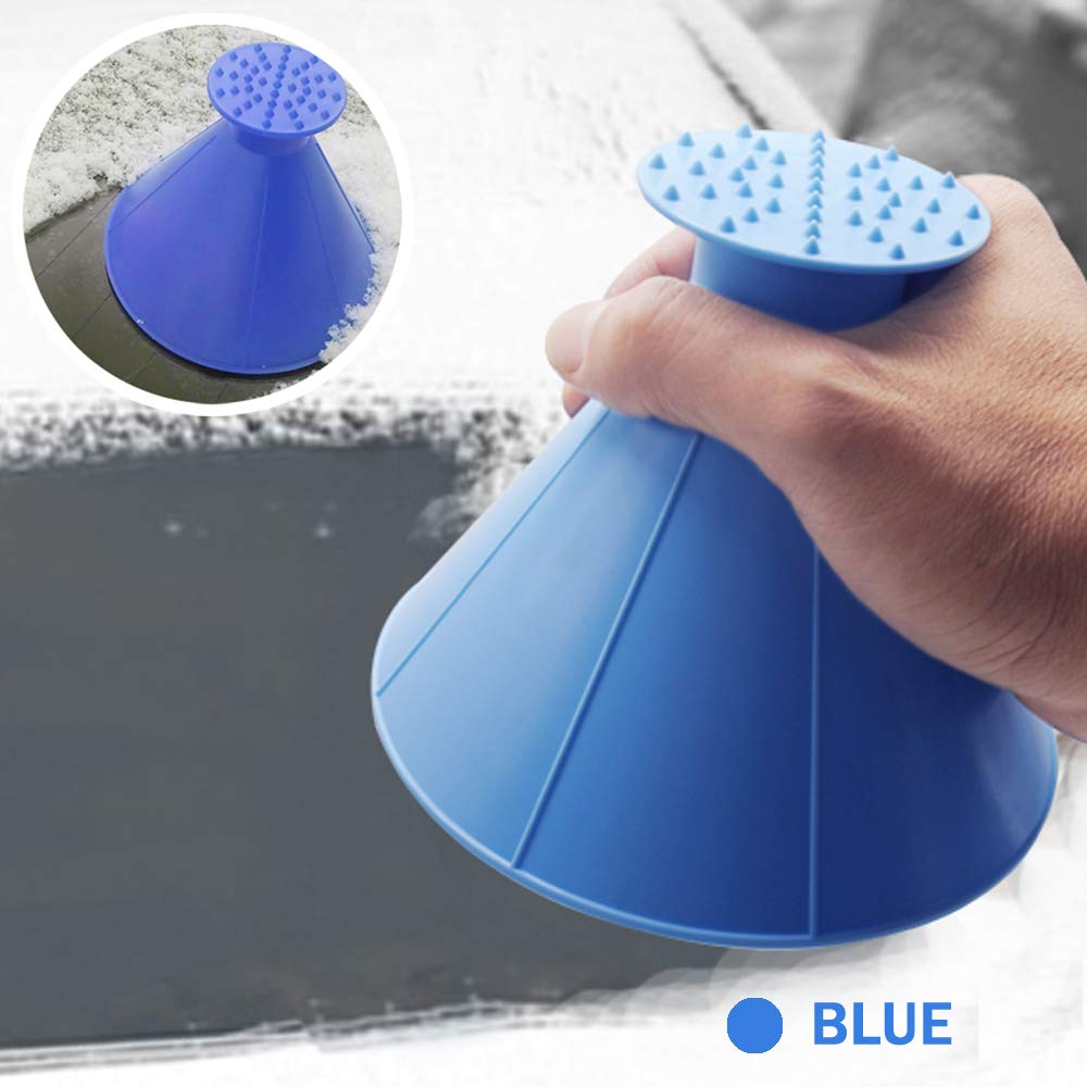 WCBDUT Round Windshield Ice Scrapers Blue 2 in 1 Scrape a Round Scraper Magic Brush to Clean The Ice and Snow on The Car