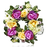 "Custom & Unique (18"" Inches) 1 Single Mid-Size Decorative Holiday Wreath for Door, Made of Resin & Fabric w/ Bright Blooming Spring Rose & Daisy Flowers Style (Pink, Yellow, White, Green, & Brown)"