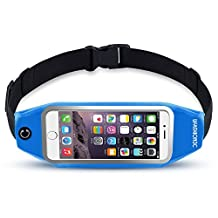 uFashion3C Universal Running Belt Pouch Case/ Waist Fanny Pack for iPhone 6, 6S, 6 Plus, 6S Plus, Galaxy S5, S6, S7,Edge, Note 3, 4, 5, LG G3, G4 G5 with OtterBox/ LifeProof Waterproof Case (Blue)