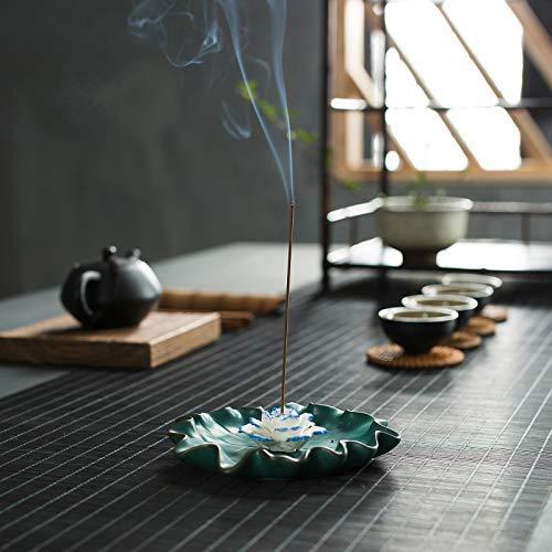 Ceramic Incense Holders for Sticks - Lotus Flower Incense Burner Holder Ash Catcher (4.92 in)