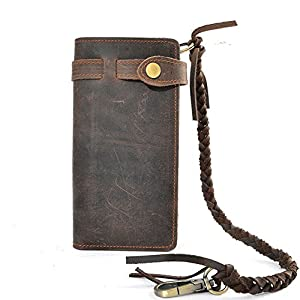 RS Men's Wallet Leather Bifold Vintage Long Style with Zipper Pockets Casual Card cases with Long Chain