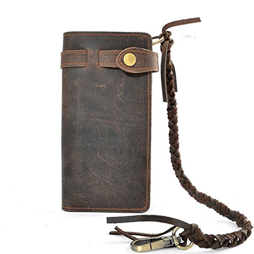 Mens Wallet with Chain Leather Long Bifold Trucker Wallet Vintage Biker Money Clip with Zipper (Dark ()