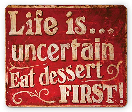 Vintage Mouse Pad, Retro Classic Design for Restaurant and Food Symbols Signs Funny Diner Supper, Standard Size Rectangle Non-Slip Rubber Mousepad, Red and Cream,9.8 x 11.8 x 0.118 Inches ()