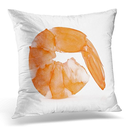 SPXUBZ Orange Prawn Shrimps White Pink Appetizer Boiled Decorative Home Decor Square Indoor/Outdoor Pillowcase Size: 16x16 Inch(Two -