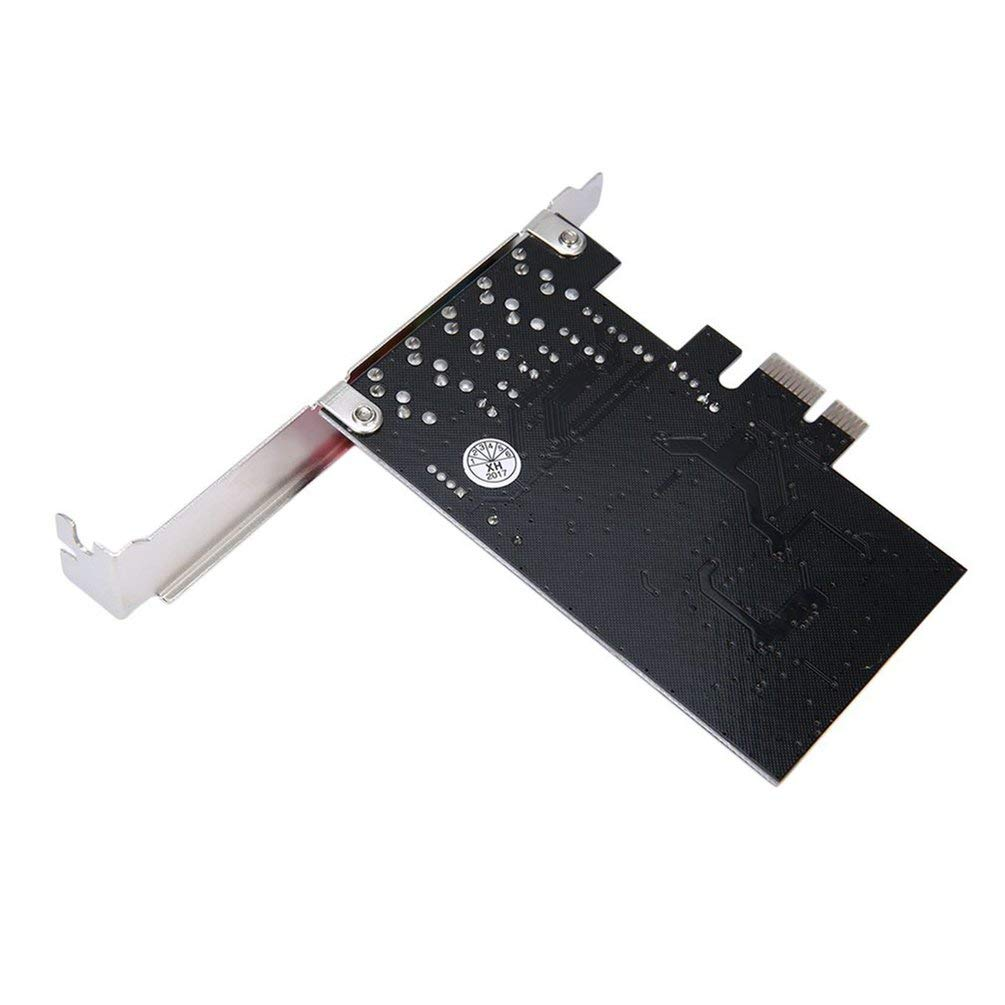 Justdodo Scheda Audio PCI-E Express 5.1ch CMI8738 con Staffa a Basso Profilo US Stock Base Musicale DLS-Base Wavetable-Nera