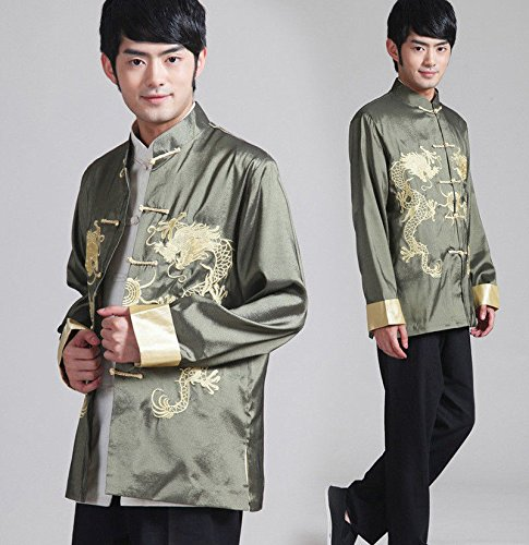 THY COLLECTIBLES Traditional Chinese Embroidered Silk Kung-Fu Tang Jacket Coat Tai Chi Uniform Double Dragon (Green, Asian XL = US L) by THY COLLECTIBLES (Image #1)