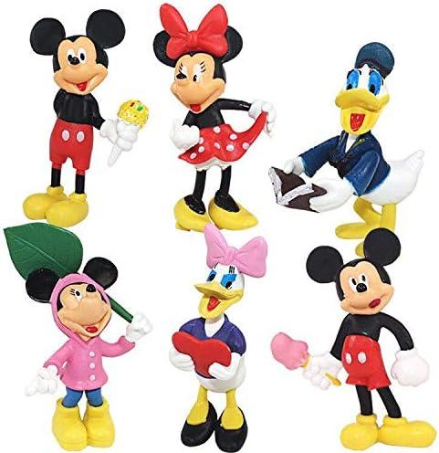 Mickey, Minnie, Daisy, Donald 6 Pieces Mickey Cake Topper,Minnie Cake Decoration,Mickey theme party supplies,Mini Figures Set Birthday Party Supplies