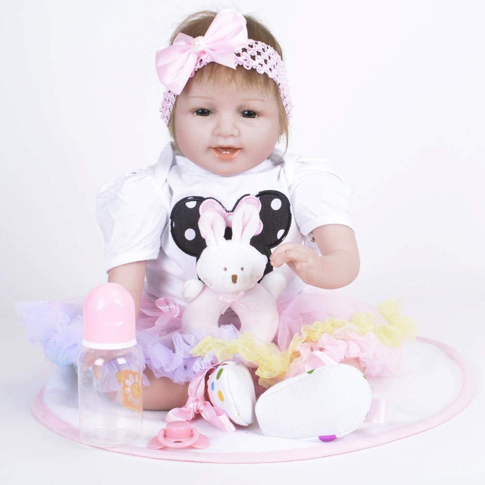 Hongge Reborn Bambola,22 pollici Reborn Baby Doll realistiche vivi ragazza bambola realistica bambola soprannaturale con bel vestito per i regali di Natale Capodanno