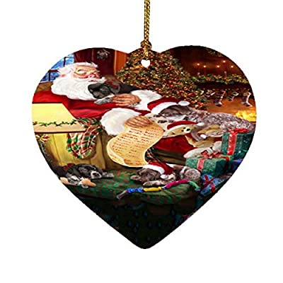 German-Shorthaired-Pointer-Dog-and-Puppies-Sleeping-with-Santa-Heart-Christmas-Ornament