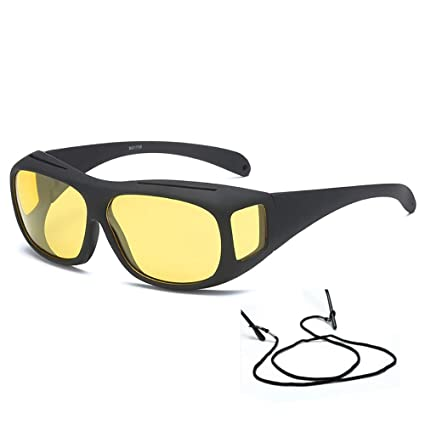 95878f6c566 Yellow Lens Wrap Around Style Polarized Night Vision HD Driving Fishing Shooting  Glasses to Fit Over Prescription Glasses - - Amazon.com