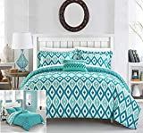 Chic Home 4 Piece Normani Reversible Ikat diamond and contemporary geometric pattern print technique King Duvet Cover Set Aqua