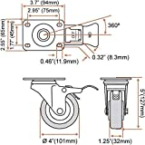 """4 Pack 4"""" Caster Wheels Swivel 360 Degree 2 with"""