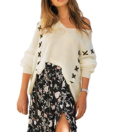 PRETTYGARDEN Womens Fashion V-Neck Long Batwing Sleeve String Crochet Criss Cross Loose Knit Pullover Sweater Tops